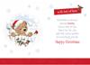 """Auntie Christmas Card - Bear Robin White Fence Wreath Glitter & Foil 7.5 x 5.25"""""""