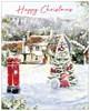 Box of 40 Winter Scenic Glitter Christmas Cards - 2 Designs Per Pack - Post Box