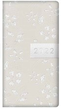 2022 Slim Week To View Fashion Diary - Leather Effect Glitter Floral - Cream