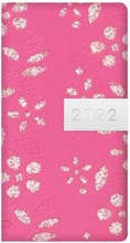 2022  Slim Week To View Fashion Diary - Leather Effect Glitter Floral - Hot Pink