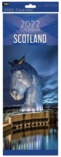 2022 Slim Month To View Spiral Scotland Wall Calendar - Kelpies Horse on Front