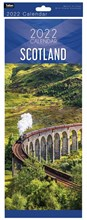 2022 Slim Month To View Spiral Scotland Wall Calendar - Steam Train on Cover