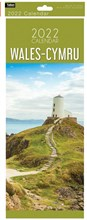 2022 Slim Month To View Spiral Wales Cymru Wall Calendar - Lighthouse on Front