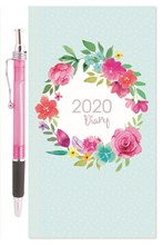 2020 Slim Week To View Hardback Diary & Pen - Green with Floral Circle