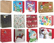 Set of 12 Large Christmas Gift Bags with Ribbon Handle & Tag Mixed Designs
