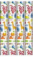12m Birthday Gift Wrapping Paper Roll - 4 x 3m - Bright Jungle Animals