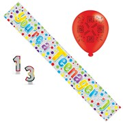 Age 13 Unisex Birthday Party Pack - Banner, Balloons, Number Candle,