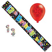 Age 13 Boy Birthday Party Pack - Banner, Balloons, Number Candle