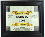 2020 13 Today Happy Birthday Print & Black Photo Frame - 2007 Was A Special Year