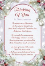 "Loving Memory Christmas Graveside Memorial Card - Thinking Of You 6.25"" x 4.25"""