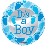 """Round 18"""" Baby Boy Foil Helium Balloon (Not Inflated) - Blue Text & Footprints"""