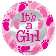 """Round 18"""" Baby Girl Foil Helium Balloon (Not Inflated) - Pink Text & Footprints"""
