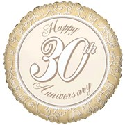 """Round 18"""" 30th Anniversary Foil Helium Balloon (Not Inflated) - Pearl Swirls"""