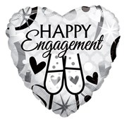 """Heart 18"""" Engagement Foil Helium Balloon (Not Inflated) - Black & Silver Glasses"""