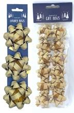 Pack Of 15 Glitter Foil Christmas Gift Bows - Assorted Sizes - Plain Gold