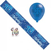 Age 16 Boy Birthday Party Pack - 16th Blue Banner, Balloons, Number Candles