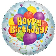 """Round 18"""" Happy Birthday Foil Helium Balloon (Not Inflated) - Balloons & Stars"""