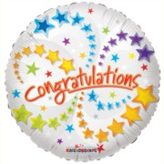 "Round 18"" Congratulations Foil Helium Balloon (Not Inflated) - Shooting Stars"