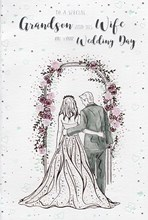 """ICG Grandson & Wife Wedding Day Card - Couple under Floral Arch with Foil 9""""x6"""""""