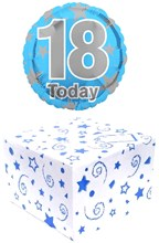 """Round 18"""" 18th Birthday Foil Helium Balloon In Box - Age 18 Male Blue Stars"""