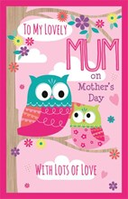 "Giant Mother's Day Poppet Card - Best Mum Bright Owls, Tree & Flowers 25"" x 16"""