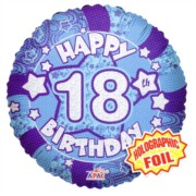 """Round 18"""" 18th Birthday Foil Helium Balloon (Not Inflated) - Age 18 Male Stars"""