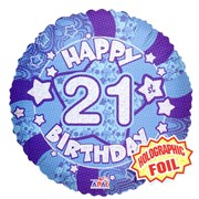 """Round 18"""" 21st Birthday Foil Helium Balloon (Not Inflated) - Age 21 Male Stars"""