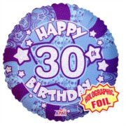 """Round 18"""" 30th Birthday Foil Helium Balloon (Not Inflated) - Age 30 Male Stars"""