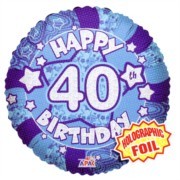 """Round 18"""" 40th Birthday Foil Helium Balloon (Not Inflated) - Age 40 Male Stars"""