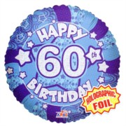 """Round 18"""" 60th Birthday Foil Helium Balloon (Not Inflated) - Age 60 Male Stars"""