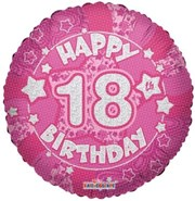 """Round 18"""" 18th Birthday Foil Helium Balloon (Not Inflated) - Age 18 Female Stars"""