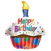 """Happy Birthday 18"""" Foil Helium Balloon (Not Inflated) - Red & Blue Cake Shape"""