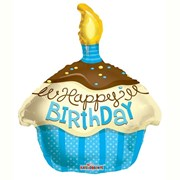 """Happy Birthday 18"""" Foil Helium Balloon (Not Inflated) - Blue & Yellow Cake Shape"""