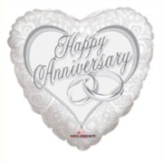 """Heart 18"""" Anniversary Foil Helium Balloon (Not Inflated) - White & Silver Rings"""