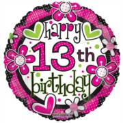 """Round 18"""" 13th Birthday Foil Helium Balloon (Not Inflated) - Age 13 Girl Flowers"""