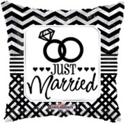 "Square 18"" Wedding Foil Helium Balloon (Not Inflated) - Black Just Married Rings"