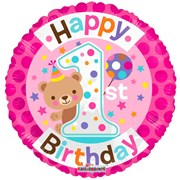 """Round 18"""" 1st Birthday Foil Helium Balloon (Not Inflated) - Age 1 Girl Bear"""