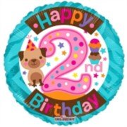 """Round 18"""" 2nd Birthday Foil Helium Balloon (Not Inflated) - Age 2 Girl Puppy"""