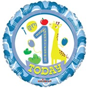 "Round 18"" 1st Birthday Foil Helium Balloon (Not Inflated) - Age 1 Boy Giraffe"