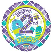 """Round 18"""" 2nd Birthday Foil Helium Balloon (Not Inflated) - Age 2 Boy Monsters"""