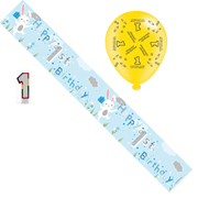 Age 1 Boy Birthday Party Pack - Banner, Balloons, Number Candle,
