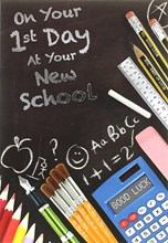 "First Day At New School Greetings Card - Blackboard & Stationery 7.5"" x 5.25"""