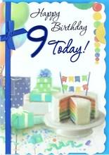 "Age 9 Boy Birthday Card - Rainbow Cake, Presents, Balloon & Bunting 7.5"" x 5.25"""