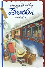 """Brother Birthday Card - Steam Train, Suitcases, Golf Clubs & Camera 10.5"""" x 7"""""""