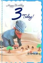 """Age 3 Boy Birthday Card - Young Boy, Blue Flat Cap & Wooden Train Set 8.75"""" x 6"""""""