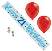 Age 21 Male Birthday Party Pack - Banner, Balloons, Candles