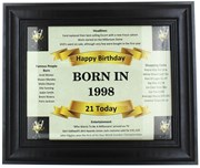 2020 21 Today Happy Birthday Print & Black Photo Frame - 1999 Was A Special Year