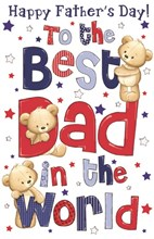 "Giant Dad Father's Day Poppet Card - Best Dad In World Bears & Stars 25"" x 16"""