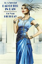 """Daughter-in-Law Birthday Card - Glamorous Woman, Royal Blue Dress & Rose 9"""" x 6"""""""