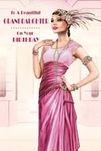 "Granddaughter Birthday Card - Glamorous Woman, Pink Dress & Jewellery 9"" x 6"""